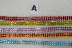 Galon strass 2 rangs 7mm (A) - rouge, rose, anis, orange, turquoise